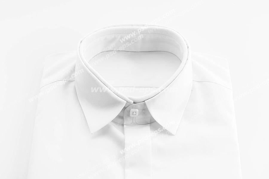 عکس با کیفیت نمای بالا از یقه پیراهن مردانه سفید رنگ ویژه استفاده در امور تبلیغاتی و تجاری طراحی کاتالوگ ، بروشور و تراکت با موضوع تولیدی لباس و پیراهن مردانه و فروش لباس مردانه