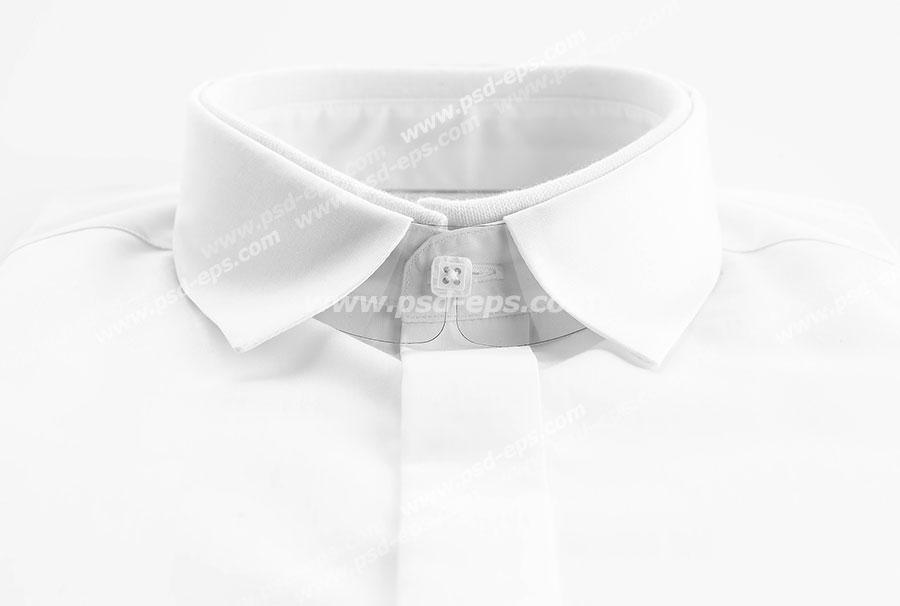 عکس با کیفیت نمای روبرو از پیراهن مردانه سفید رنگ ویژه استفاده در امور تبلیغاتی و تجاری طراحی کاتالوگ ، بروشور و تراکت با موضوع تولیدی لباس و پیراهن مردانه و فروش لباس مردانه