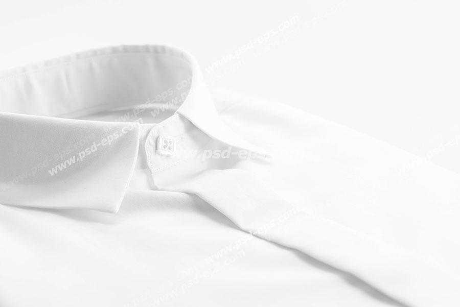 عکس با کیفیت نمای نزدیک از پیراهن مردانه سفید رنگ ویژه استفاده در امور تبلیغاتی و تجاری طراحی کاتالوگ ، بروشور و تراکت با موضوع تولیدی لباس و پیراهن مردانه و فروشگاه لباس مردانه