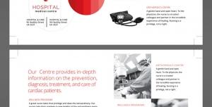 تراکت یا پوستر لایه باز دستگاه های پزشکی ، مهندسی پزشکی و خدمات پزشکی با دستگاه های مخصوص