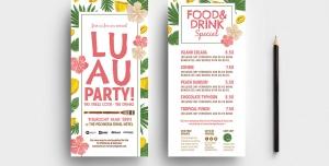 بروشور یک لت لایه باز تبلیغاتی رستوران ها ، کافی شاپ ها و جشن ها با منوی غذاها و نوشیدنی ها