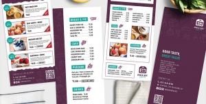 بروشور یک لت با دو مدل لایه باز تبلیغاتی کافی شاپ یا شیرینی فروشی و قنادی با منوی خوراکی ها