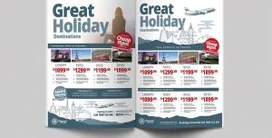 تراکت لایه باز تبلیغاتی آژانس های هواپیمایی ، تورهای گردشگری ، تورهای خارجی برای کشور های اروپایی و آسیایی و جاذبه های گردشگری و مناطق دیدنی و تاریخی
