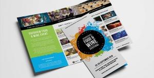 بروشور سه لت لایه باز تبلیغاتی جشنواره و فستیوال غذا و نوشیدنی با انواع خوراکی ها و شیرینی و کیک ها ، رستوران ها و کافی شاپ ها
