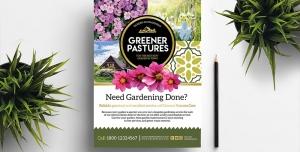 تراکت لایه باز تبلیغاتی برای باغبانی ، کاشت گل و گیاه و گلخانه ، سازمان پارک های شهرداری