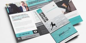 بروشور سه لت لایه باز تبلیغاتی شرکت های ایده پردازی و بازاریابی در زمینه تجارت و بازرگانی و فناوری اطلاعات