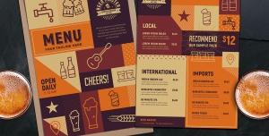 بروشور یا پوستر لایه باز منوی رستوران ، کافی شاپ ، آبمیوه و بستنی فروشی با رنگ نارنجی قهوه ای
