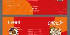تراکت لایه باز تبلیغاتی رستوران غذاهای چینی و کره ای با رنگ های زمینه قرمز و نارنجی