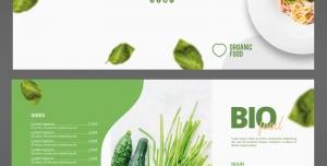 بروشور سه لت لایه باز تبلیغاتی کاشت و استفاده از محصولات ارگانیک یا رستوران های غذاهای رژیمی