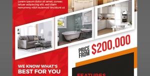 پوستر لایه باز فروش املاک و خانه های لاکچری و مدرن مورد استفاده مشاورین املاک با زمینه قرمز
