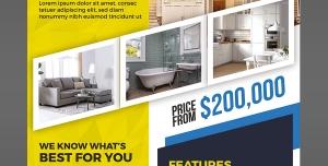 پوستر لایه باز فروش آپارتمان و خانه های لاکچری و مدرن مورد استفاده مشاورین املاک با زمینه زرد