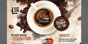 پوستر لایه باز تبلیغاتی زیبای کافی شاپ و قهوه با تصویر فنجان قهوه با اماکن درج آدرس و تلفن