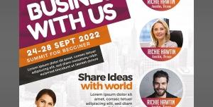 پوستر لایه باز تبلیغاتی شرکت های بازاریابی و ارتقای سطح تجارت و بازرگانی و تجارت الکترونیک