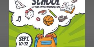 پوستر لایه باز تبلیغاتی انواع لوازم التحریر مناسب برای فروش آغاز سال تحصیلی جدید