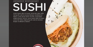 پوستر لایه باز تبلیغاتی غذاهای چینی از جمله سوشی مناسب رستوران غذاهای چینی