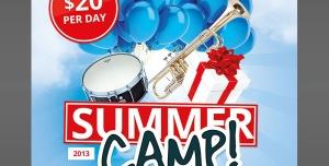 تراکت یا پوستر لایه باز کمپ و اردوگاه های تابستانی یا جشنواره موسیقی های سنتی یا جشن های آیینی