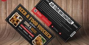 کوپن یا بلیط لایه باز تخفیف غذا و نوشیدنی یا کارت ویزیت تبلیغاتی آشپزها یا رستوران داران