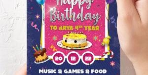 کارت تبریک یا کارت دعوت لایه باز تبریک تولد یا جشن تولد کودکان با تصویر کیک و شمع و پاپیون با رنگ های صورتی و سرمه ای