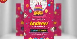 کارت دعوت لایه باز صورتی جشن تولد یا جشن مهدکودک ها برای کودکان با تصویر کیک و شمع تولد