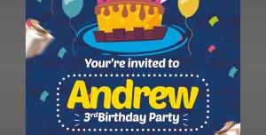 کارت دعوت لایه باز آبی جشن تولد یا جشن مهدکودک ها برای کودکان با تصویر کیک و شمع تولد
