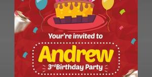 کارت دعوت لایه باز قرمز جشن تولد یا جشن مهدکودک ها برای کودکان با تصویر کیک و شمع تولد