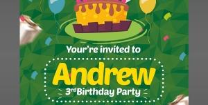 کارت دعوت لایه باز سبز جشن تولد یا جشن مهدکودک ها برای کودکان با تصویر کیک و شمع تولد
