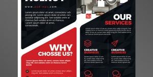 تراکت یا پوستر لایه باز تبلیغاتی قرمز رنگ ارتقای بازاریابی در زمینه تولید و فروش لوازم خانگی و برقی
