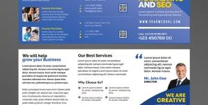 بروشور سه لت لایه باز آژانس املاک یا بنگاه املاک با تصویر ویلا و رنگ غالب آبی