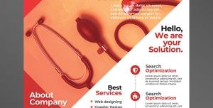 تراکت یا پوستر لایه باز تبلیغاتی ارتقای سطح بازاریابی و پیشرفت کاری در زمینه ابزار پزشکی و مهندسی پزشکی