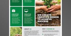 تراکت یا پوستر لایه باز سبز و سفید رنگ ایجاد طراحی خلاقانه برای رسیدن به موفقیت در باغبانی ، نگهداری گیاهان و طراحی باغ و باغچه و فضای سبز