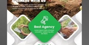 پوستر یا تراکت لایه باز تبلیغاتی ارتقای سطح کاری و بازاریابی در زمینه باغبانی یا مدیریت فضای سبز و درختکاری