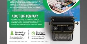 پوستر یا تراکت لایه باز تبلیغاتی سبز رنگ ارتقای سطح بازاریابی در زمینه تایپ متون فارسی و انگلیسی یا تعمیرات کامپیوتر و مادر برد