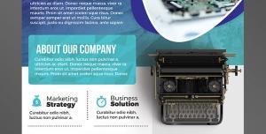 پوستر یا تراکت لایه باز تبلیغاتی آبی رنگ ارتقای سطح بازاریابی در زمینه تایپ متون فارسی و انگلیسی یا تعمیرات کامپیوتر یا لپ تاب