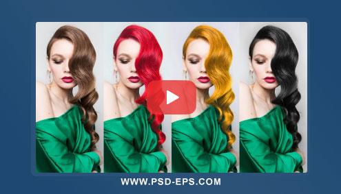 فیلم آموزش فتوشاپ تغییر رنگ مو به رنگ دلخواه با ابزارهای فتوشاپ + HD