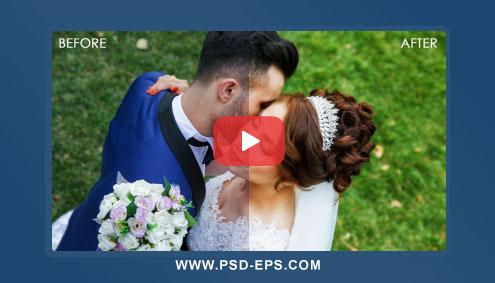 فیلم آموزش فتوشاپ درخشنده کردن رنگ عکس های عروس و داماد + روتوش عکس نامزدی