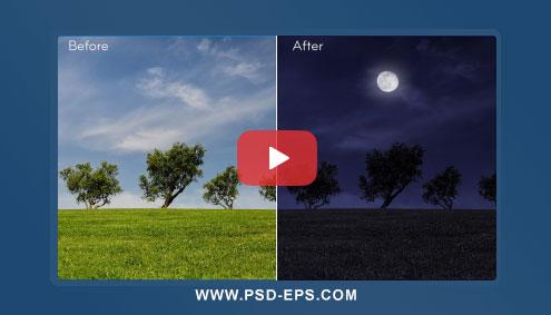 فیلم آموزش فتوشاپ تبدیل روز به شب در عکس بصورت حرفه ای با کیفیت HD