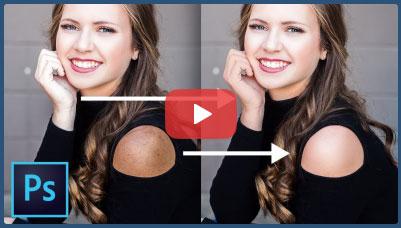 فیلم آموزش روتوش بخشی از پوست ( شانه ) هماهنگ با پوست صورت با فتوشاپ