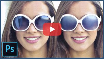 فیلم آموزش فتوشاپ حذف انعکاس مزاحم عینک آفتابی یا مات کردن عدسی عینک در عکس