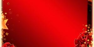 قاب لایه باز گل و ستاره با زمینه قرمز + PSD