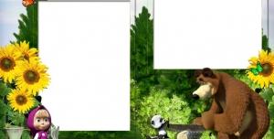 تراکت و پوستر لایه باز مهد کودک و پیش دبستانی و دبستان با طرح خرس و دختر بچه همراه با تصاویر شاد کودکانه + PSD