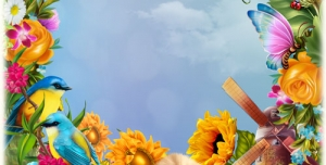 تراکت و پوستر و قاب و عکس و فریم کودکانه حاشیه گل با منظره و حیوانات با طرحی شاد بصورت لایه باز مناسب مهد کودک و پیش دبستانی و دبستان + PSD