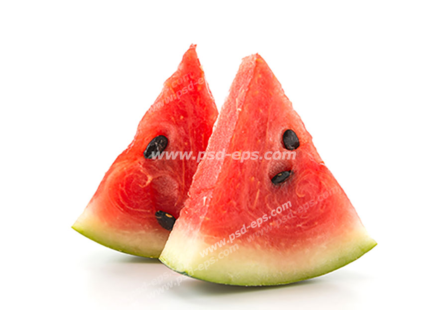 عکس با کیفیت تکه های مثلثی از هندوانه های قرمز رنگ بر روی زمینه سفید رنگ