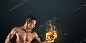 عکس با کیفیت ورزشکار پرورش اندام در حال حرکت جلو بازو با دمبل