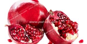 عکس با کیفیت انار سالم و تکه شده در کنار دانه های قرمز آن بر روی زمینه سفید رنگ