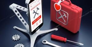 عکس با کیفیت نماد اپلیکیشن یا استارت آپ ها و نرم افزار موبایلی برای ارائه انواع خدمات تعمیرات