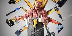 عکس با کیفیت مهندس ساختمان سازی با لباس مخصوص و کلاه ایمنی همراه با ابزارآلات نقشه کشی و ساختمان سازی مانند مته و دسته تاور کرین و جرثقیل و غیره با زمینه خاکستری