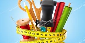 عکس با کیفیت فانتزی ابزار خیاطی از جمله نخ ، قیچی ، دکمه و... ، مانکن و پارچه با متری در دور آنها