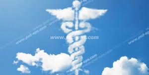 عکس با کیفیت ابری با شکل لوگو ، آرم و یا نماد داروسازی و پزشکی بر آسمان