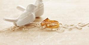 عکس با کیفیت حلقه های طلای عروس و داماد در کنار مجسمه کبوترهای سفید
