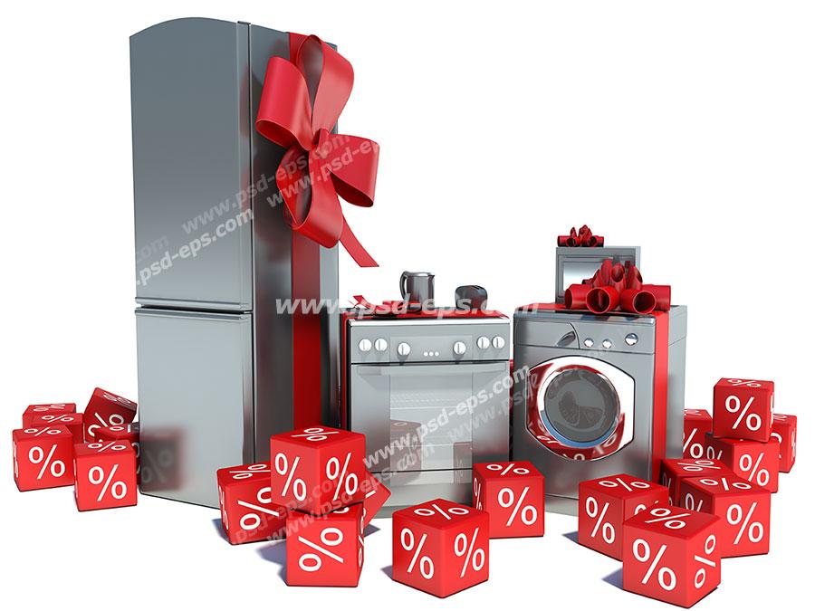 عکس با کیفیت لوازم آشپزخانه مانند یخچال ، مایکروویو ،گاز فردار ،ماشین لباسشویی ، توستر و چای ساز با تزئین روبان قرمز و تصویر مناسب آف و یا تخفیف